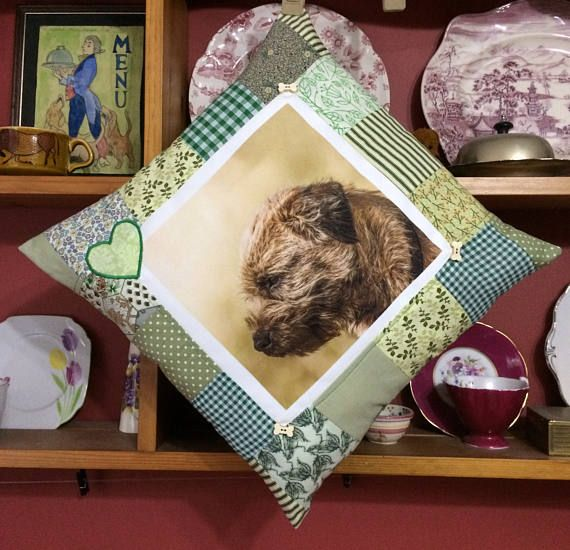 Border Terrier Patchwork Pillow cushion dog lovers gift