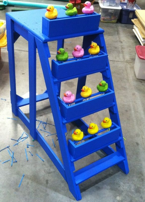 Shoot Duck Gallery game created for Fall Festival. Ducks are shot with Nerf guns, fall down and can easily be flipped back up.