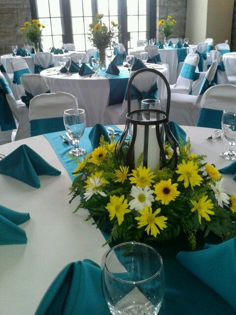Yellow and Teal lantern Wedding reception centerpieces