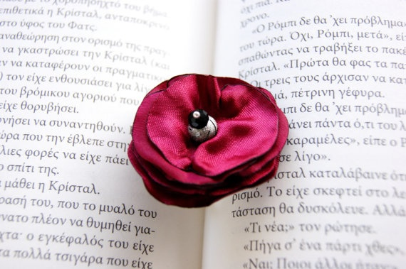 Fabric Ruby Red Ring by RenatasArt on Etsy, €10.00
