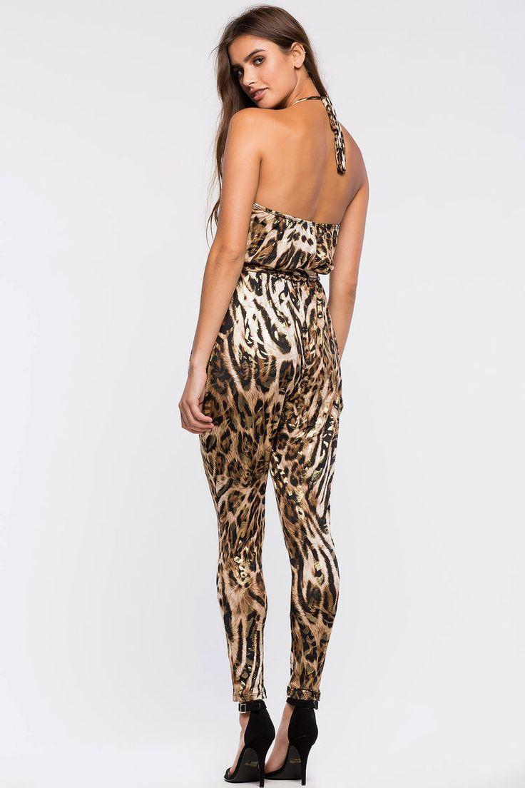 Леопардовый комбинезон Размеры: S, M, L Цвет: коричневый с принтом Цена: 2373 руб.  #одежда #женщинам #комбинезоны #коопт