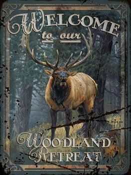 """Welcome Elk Metal Sign, hunting fishing and outdoors, FREE expedited shipping upgrade all orders in my store by OMSC. $16.25. Rounded corners with holes for easy hanging. This sign measures 9"""" by 12"""". Eco-friendly process, hand-made in the USA. Ships in Ploy-bag for complete protection. Glossy, full-color, enamalized imaged baked onto thick, 24-gauge steel. Hand-made in America, these sturdy metal signs will perfectly accent any kitchen, home, bar, pub, game room, office or gara..."""