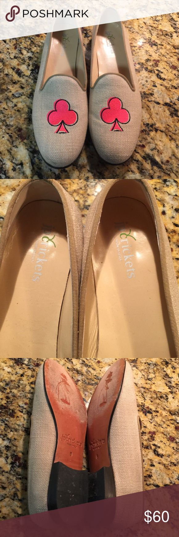 JP Crickets Spade Loafers Sz 8. These are so cute and are very gently worn. Retail for over $300!  Gorgeous preppy style linen shoes. Last photo is an example from the JP Crickets website. JP Crickets Shoes Flats & Loafers
