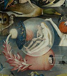 La parte inferior de la tabla está dominada por numerosos desnudos, en grupos o en parejas, junto con extrañas plantas, minerales y conchas o comiendo grandes frutos