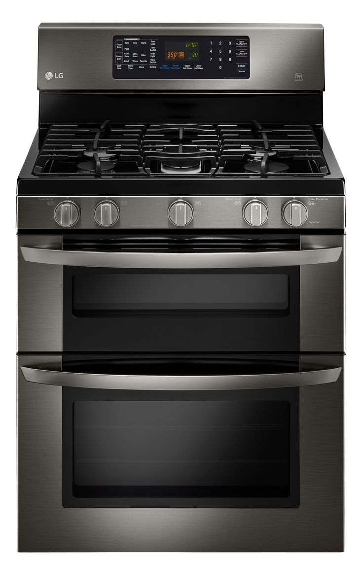 Side by side double oven gas stove - Capacity Gas Double Oven Range With Easyclean Black Stainless