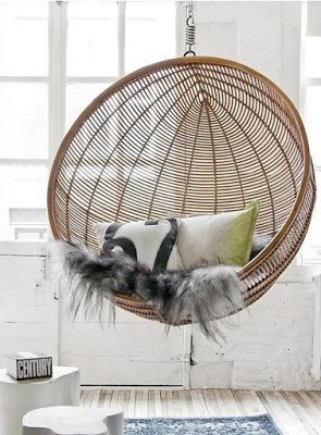 Otan Hanging Bowl Chair Honey HK Living Via Nat Et Nature