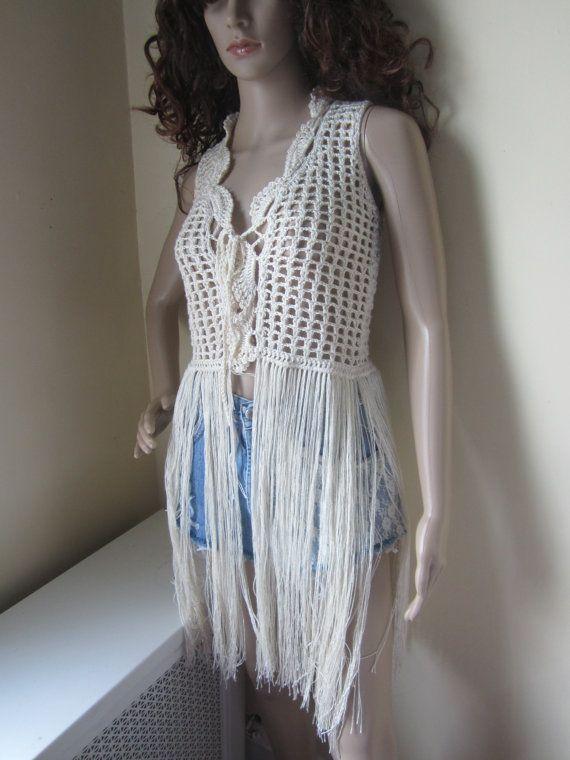 Crochet vest FESTIVAL VEST Fringe vest Elongated Fringes