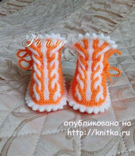 Пинетки для девочки спицами. Работа Риммы вязание и схемы вязания