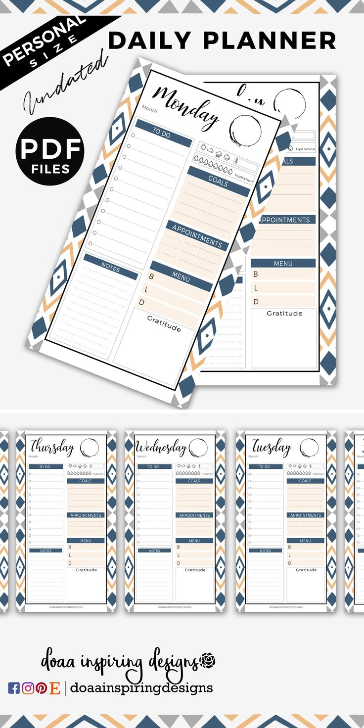 navy daily planner printable, filofax printable planner, planner inserts