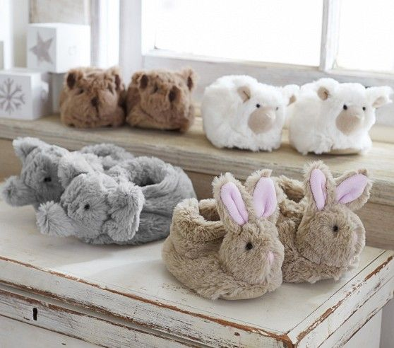 Nursery Fur Animal Slippers | Pottery Barn Kids okay seriously???? so adorable!!!!!!!