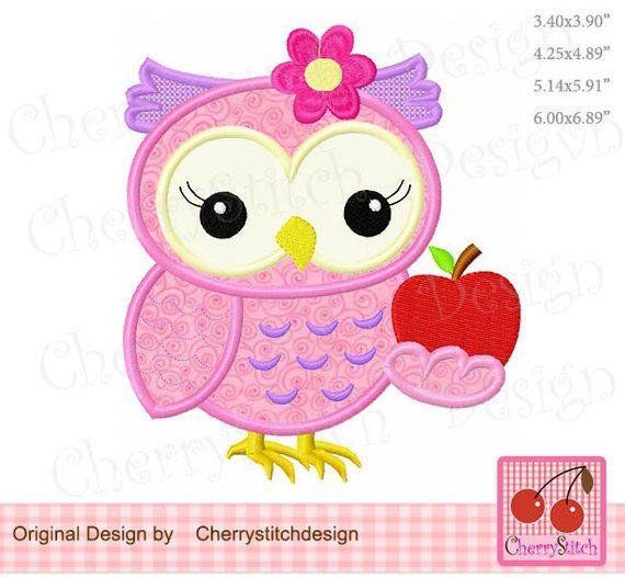 4x4 5x5 6x6 Birthday Owl Machine Embroidery Applique Design