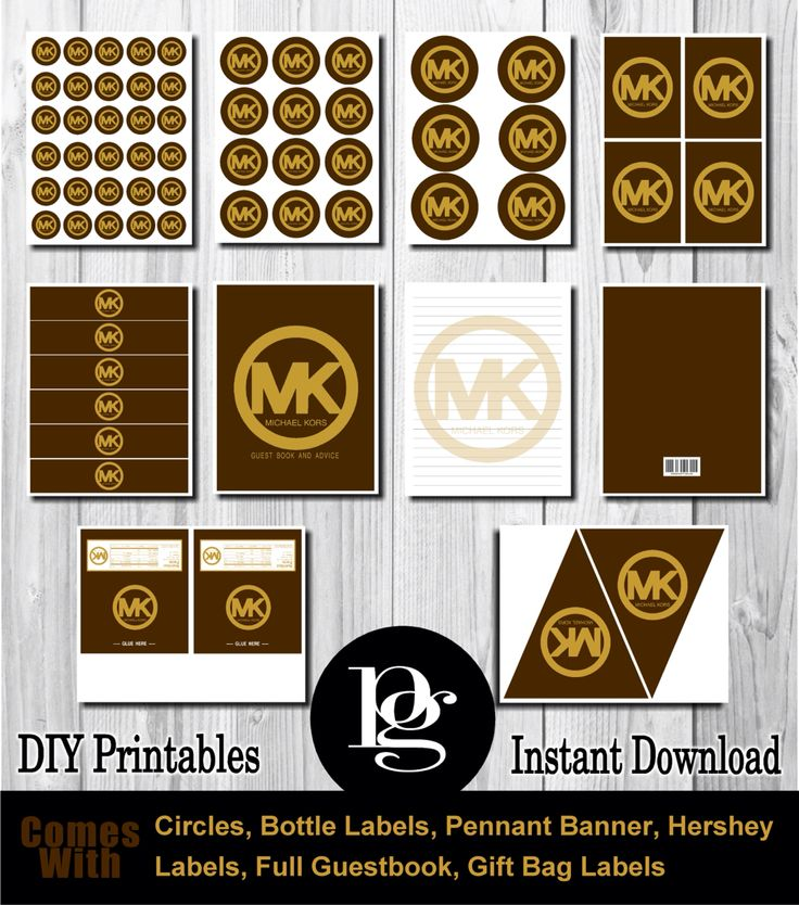 $14.95 Michael Kors Printable Party Decorations. mk | michael kors | michael kors party favors | michael kors party supplies | michael kors decorations http://matchmypartytheme.com/item/michael-kors-party-favors
