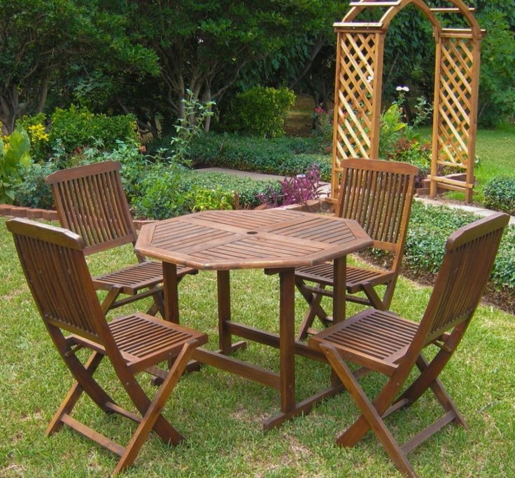 5-Piece Traditional Sturdy Wooden Stowaway Outdoor Patio Dining Furniture Set #DiningFurniture