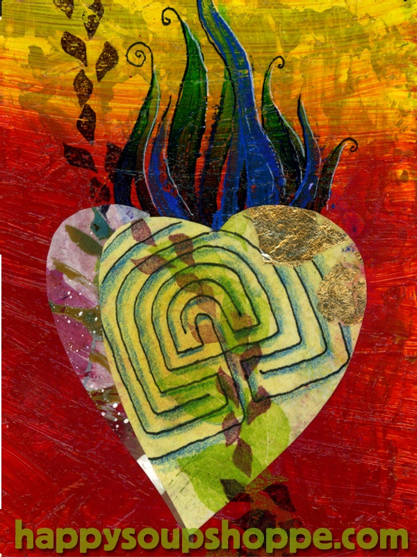 https://www.etsy.com/listing/111226556/valentines-heart-card-labyrinth-red-gold by Vermont artist and mermaid Cathy Stevens Pratt