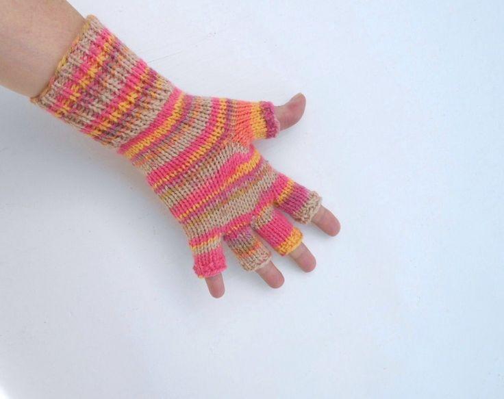 Pletené+rukavice+(obvod+dlaně+17+-19+cm)+ručně+pletené+rukavičky+bezprsťáky+velmi+pružné,+delší+na+zápěstí,+ze+zahr…