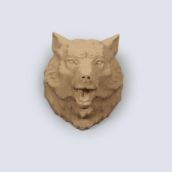 Wolfskopf Trophäe – DIY Karton schnitzen, DIY Papercraft, 3D Wandkunst, Inneneinrichtungen, Wellpappe, Tier Wanddekoration, DIY Geschenk
