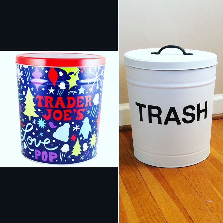 DIY trash can from popcorn tin! Just need spray paint, vinyl stick on letters and a drawer pull/knob added to the top!