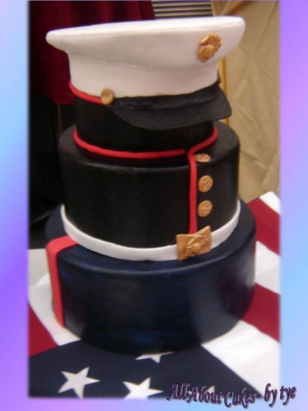 We would have to modify the colors to make it an officer's cake, but I think this is a pretty neat idea for Chris' grooms cake.