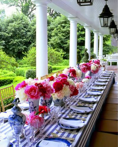 perfection: Pink Flowers, Tables Sets, Blue, Parties Ideas, Dinners Parties, Stripes, Porches, Long Tables, Peonies