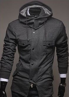 Clearance! Now only $21.95. Men's Gray Cotton Hooded Jacket