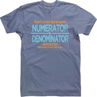 numerator denominator math club mathletes t shirt custom design high school middle school