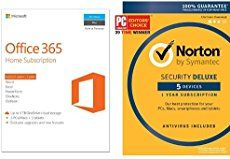 Bundle includes 1 year subscription key cards to both Office 365 and Norton Security Deluxe (both for up to 5 devices) Office 365: Full, installed 2016 ver