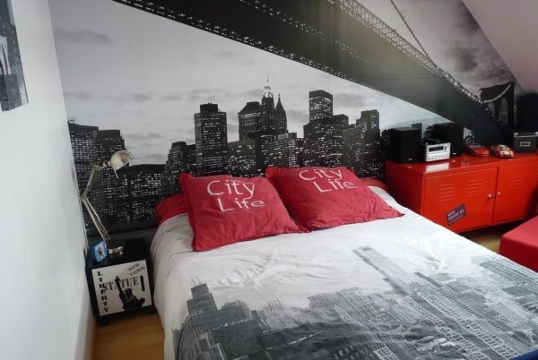 Chambre ado Gris Rouge Moderne