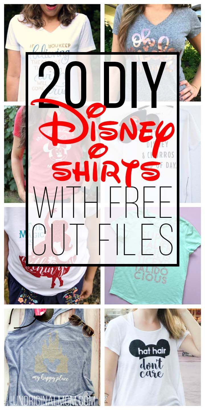 Great ideas for DIY Disney Shirts with free cut files for your Silhouette or Cricut! #disney #disneyshirts #silhouette #cricut