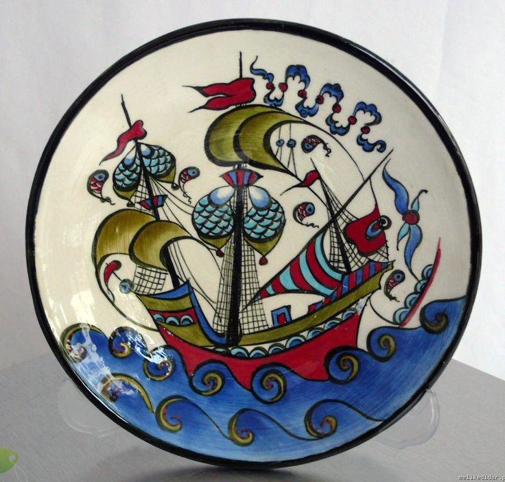 kalyon desenli el yapımı çini tabak modeli