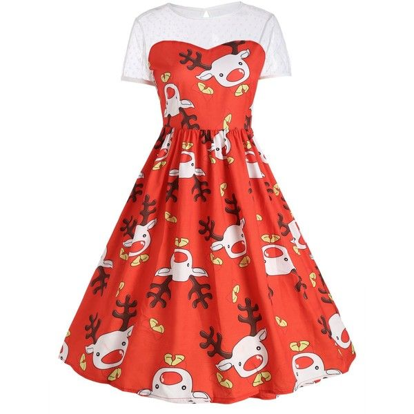 Mesh Panel Cute Reindeer Christmas Party Dress ($15) ❤ liked on Polyvore featuring dresses, vintage christmas dress, vintage cocktail dresses, red christmas dress, mesh inset dress and vintage dresses