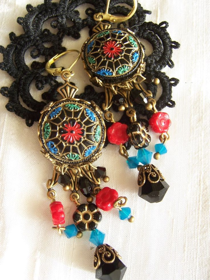 Elegant Gipsy Long Boho Folklore leverback style earrings made with vintage Czech glass buttons, crystal and filigree, ooak, unique handmad by MoodsWingz on Etsy