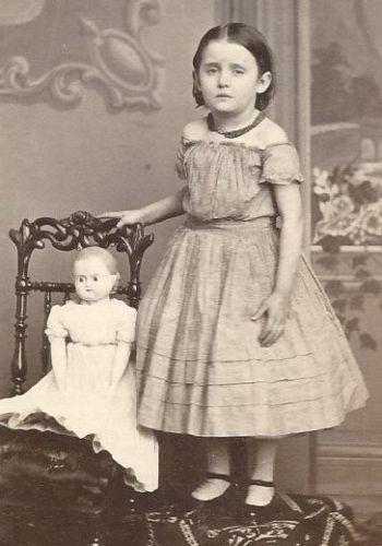 Civil War Era Little Girl and Doll c1866 ID Emma Palmer Green Tax Stamp CDV | eBay