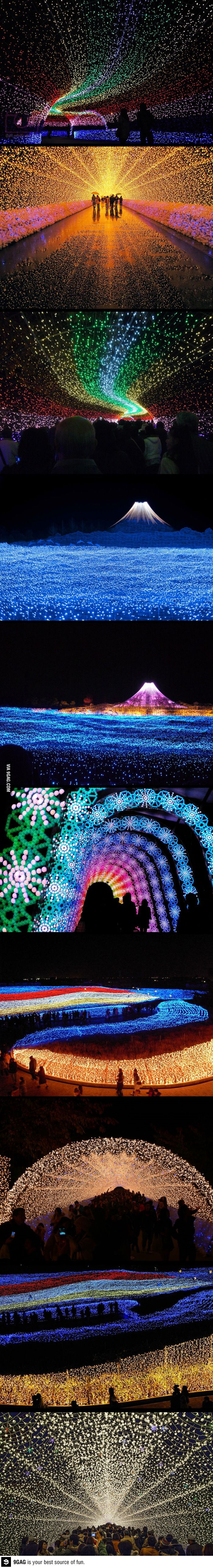 Winter light festival in japan, made from 7 million LEDs! People are amazing!
