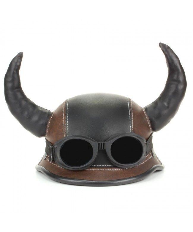 LOUDelephant Viking horned novelty festival helmet with goggles - Black & brown