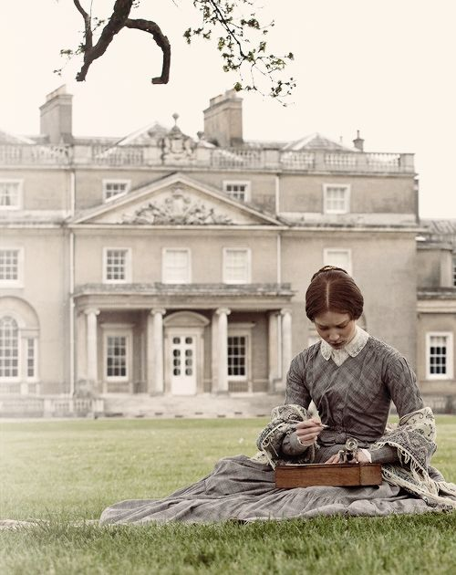 No caption, but I KNOW this has to be a version of Jane Eyre! Look at her simple hairstyle and dress and the awesome house!
