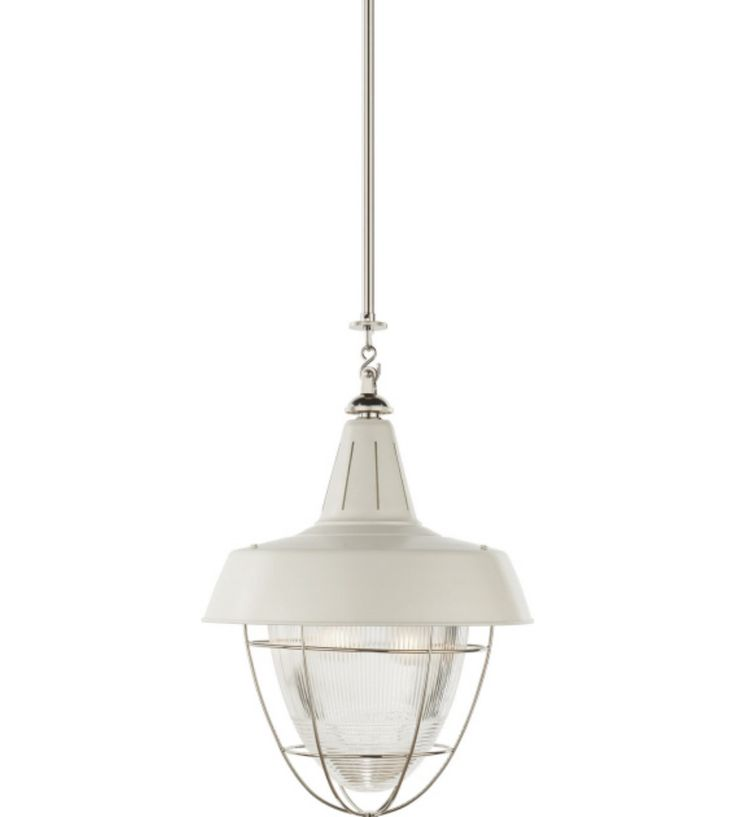 Visual comfort tob5042pn wht thomas obrien henry industrial hanging light in polished nickel