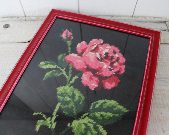 Vintage Cross Stitch Rose Picture Cross-Stitch by ohlalacamille
