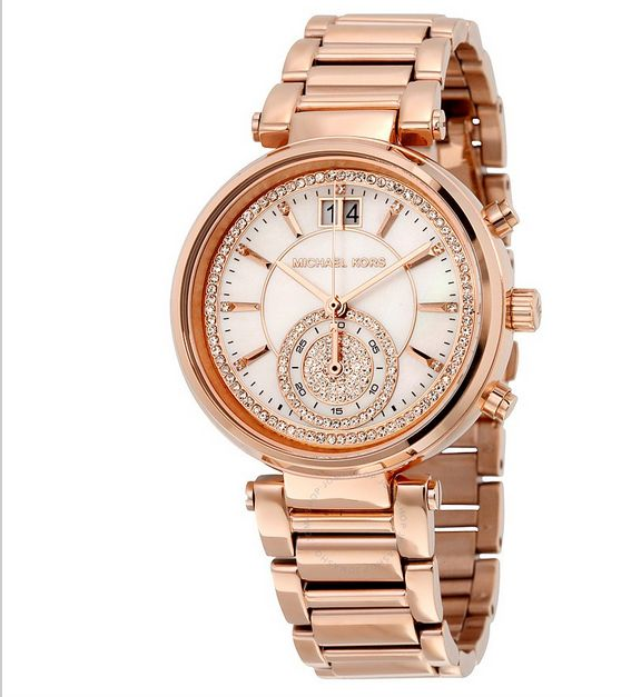 Michael Kors Sawyer Mother of Pearl Crystal Pave Dial Rose Gold-Tone Ladies Watch