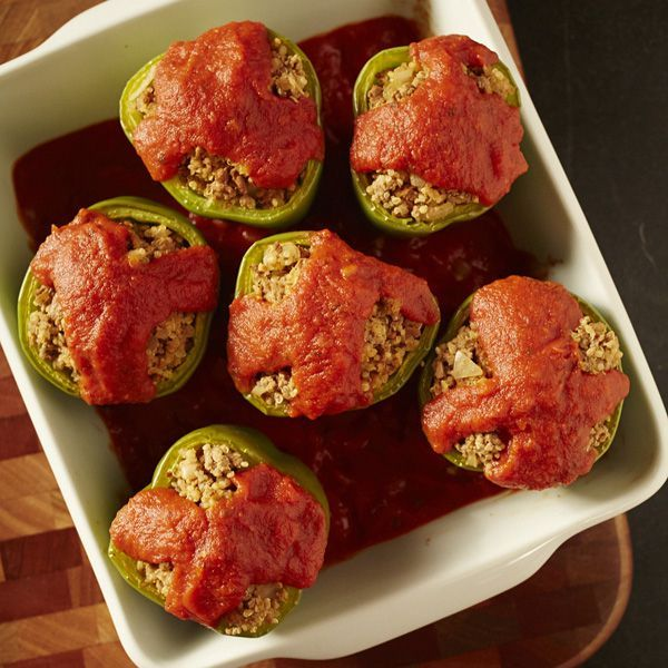 Ground Beef And Quinoa Stuffed Peppers Recipe Stuffed Peppers Ground Beef Recipes Beef Recipes