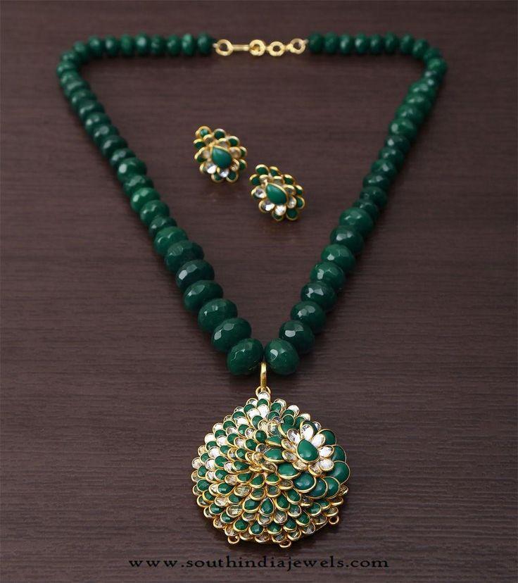 Beaded Kundan Necklace Set, Green Beaded Necklace Set