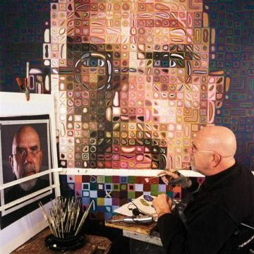 Chuck Close suffers from Prosopagnosia, also known as face blindness, he is unable to recognize faces. Painting portraits, helps him to recognize and remember faces. He records minute close up detail. Photographic quality of his work. To create his work Close puts a grid on a photo and on the canvas and copies cell by cell. Each square within the grid is filled with roughly executed regions of color which give the cell a perceived 'average' hue which makes sense from a distance.