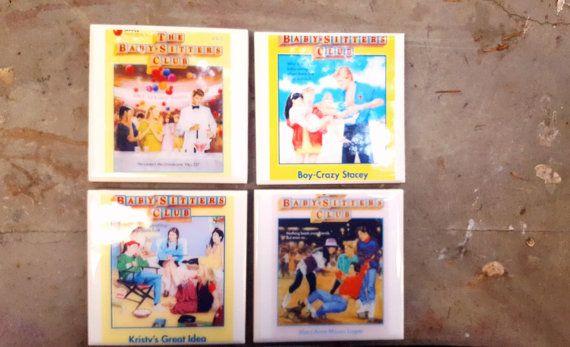 Tile Coasters Baby-sitters Club Babysitters ceramic coasters 80s Books Nostalgia