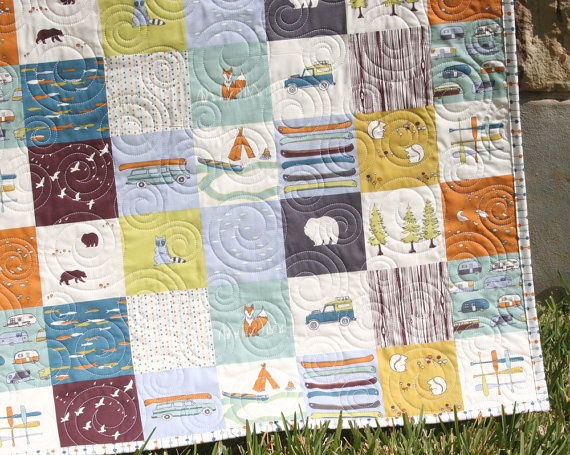 Toddler Quilt Organic Baby Camp Sur Camping Outdoors