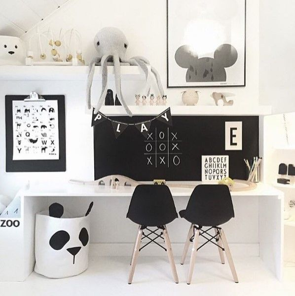 Scandinavian/Nordic themed monochrome study. Add the panda canvas storage bags to put away toys, books, clothes, etc. Available at Desa Life. www.desa.life