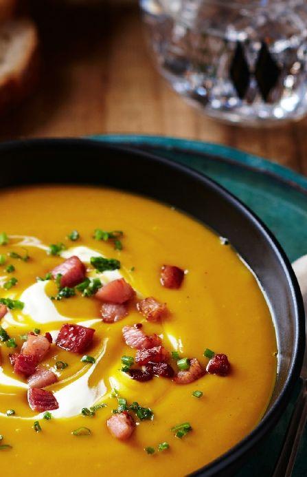 Low FODMAP Recipe and Gluten Free Recipe - Pumpkin & bacon soup --- http://www.ibs-health.com/low_fodmap_recipe_pumpkin_bacon_soup.html
