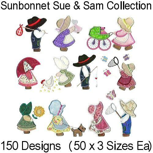 This is now available on EBay 3 still available. Sunbonnet Sue & Sam Applique Machine Embroidery Design Collection - All on 1 CD
