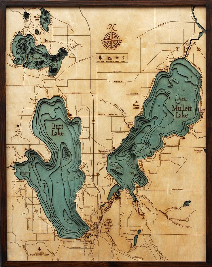 WoodChartu0027s beautiful map of Burt Lake and