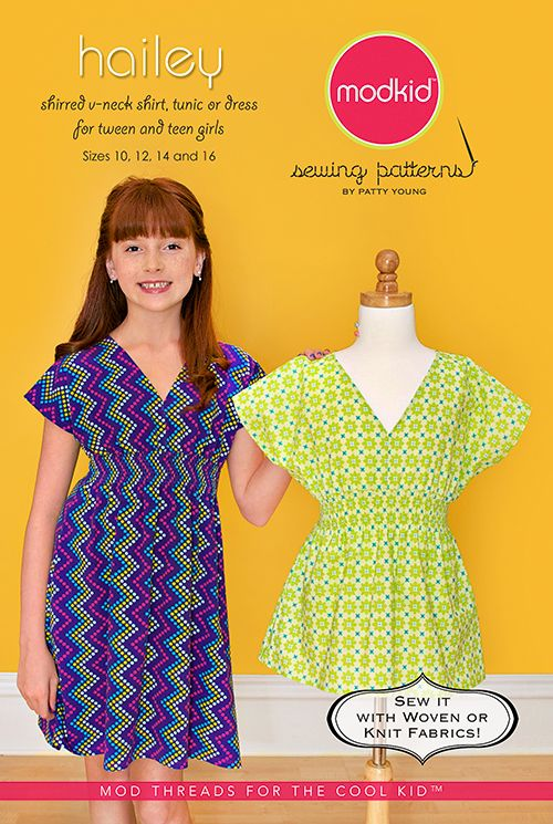Shirred V-neck Shirt, Tunic or Dress for Tween and Teen Girls