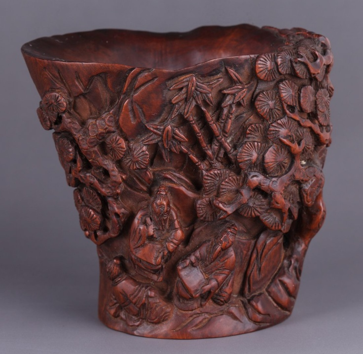 Th c chinese boxwood carved libation cup dimension