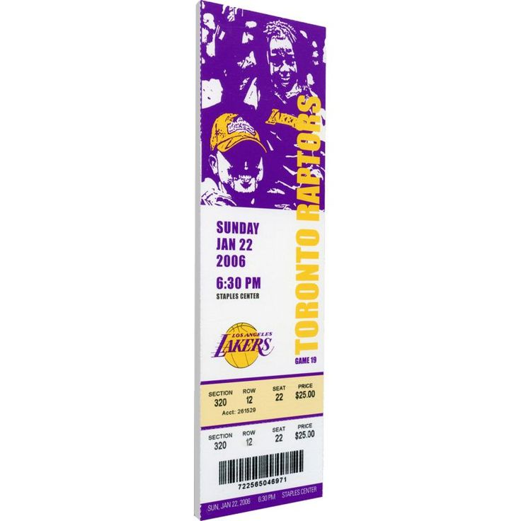 That's My Ticket Los Angeles Lakers Kobe Bryant 81 Point Game Canvas Ticket, Team